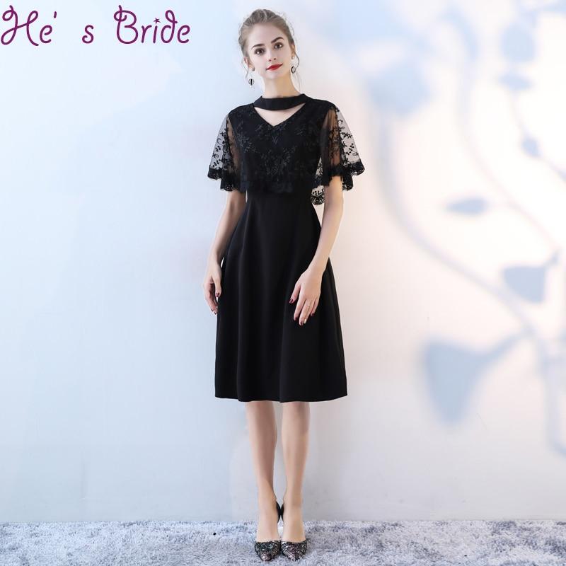 Evening Dress Elegant Black V Neck Short Sleeves Vesta De Festa Zipper Back Vesta De Festa Satin Lace Simple Party Prom Dress