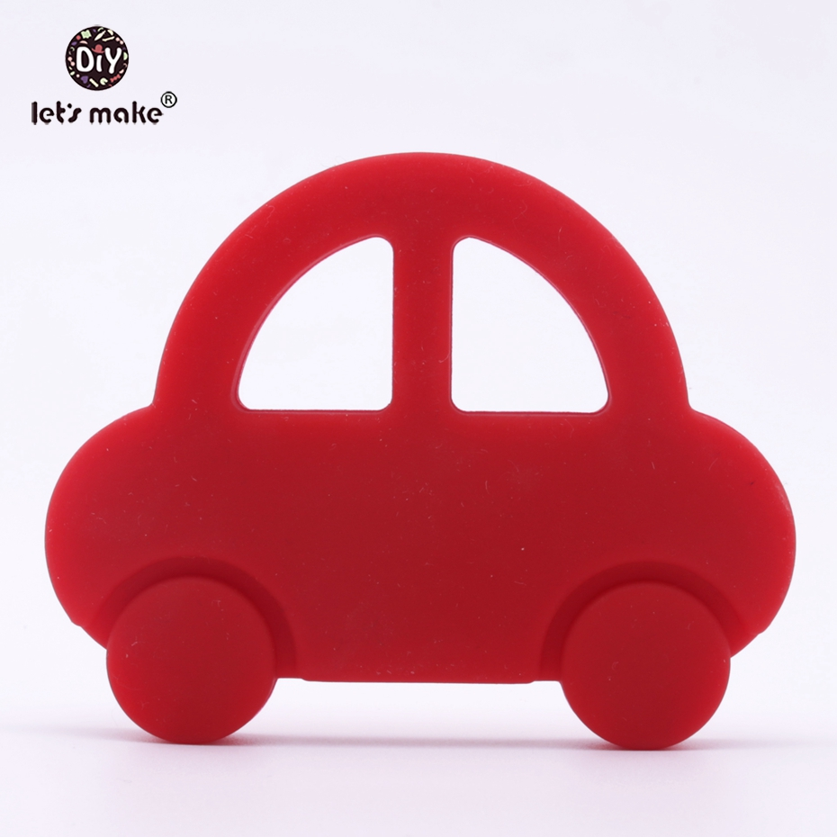 Let's Make Silicone Teether Cartoon Car Baby Rattles Toys Play Gym Accessories BPA Free Food Grade Boys And Girls Baby Teether