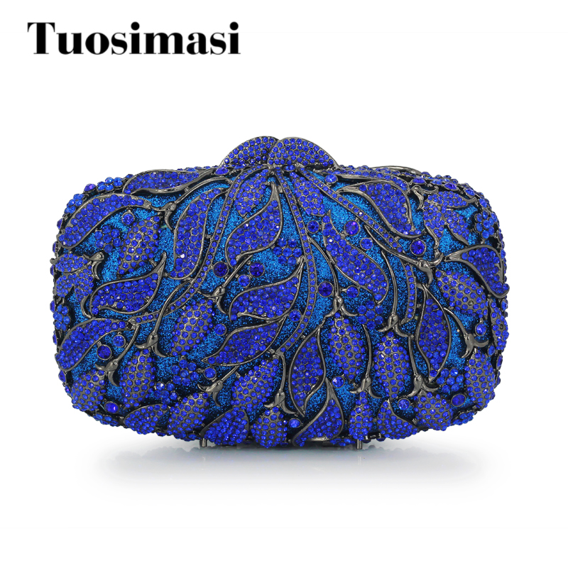Luxury Pure Blue Flower Crystal Feast Bag Rhinestone Wedding Bride Clutch Purse banquet Party bag Women Floral Evening(88218-BB) handmade vogue big mesh fascinators hats for women party wedding bride show banquet rhinestone headwear hat shooting headdress