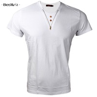 New Arrival Summer Fitness T Shirt Men Cotton Short Sleeved V Neck Solid Casual Style T