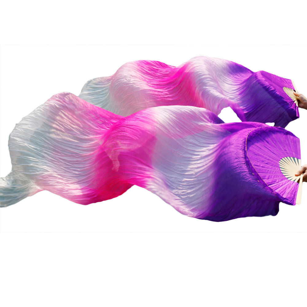 female high quality Chinese silk veils dance fans Pair of belly dancing fans cheap Purple+light purple+Rose+Pink+ White