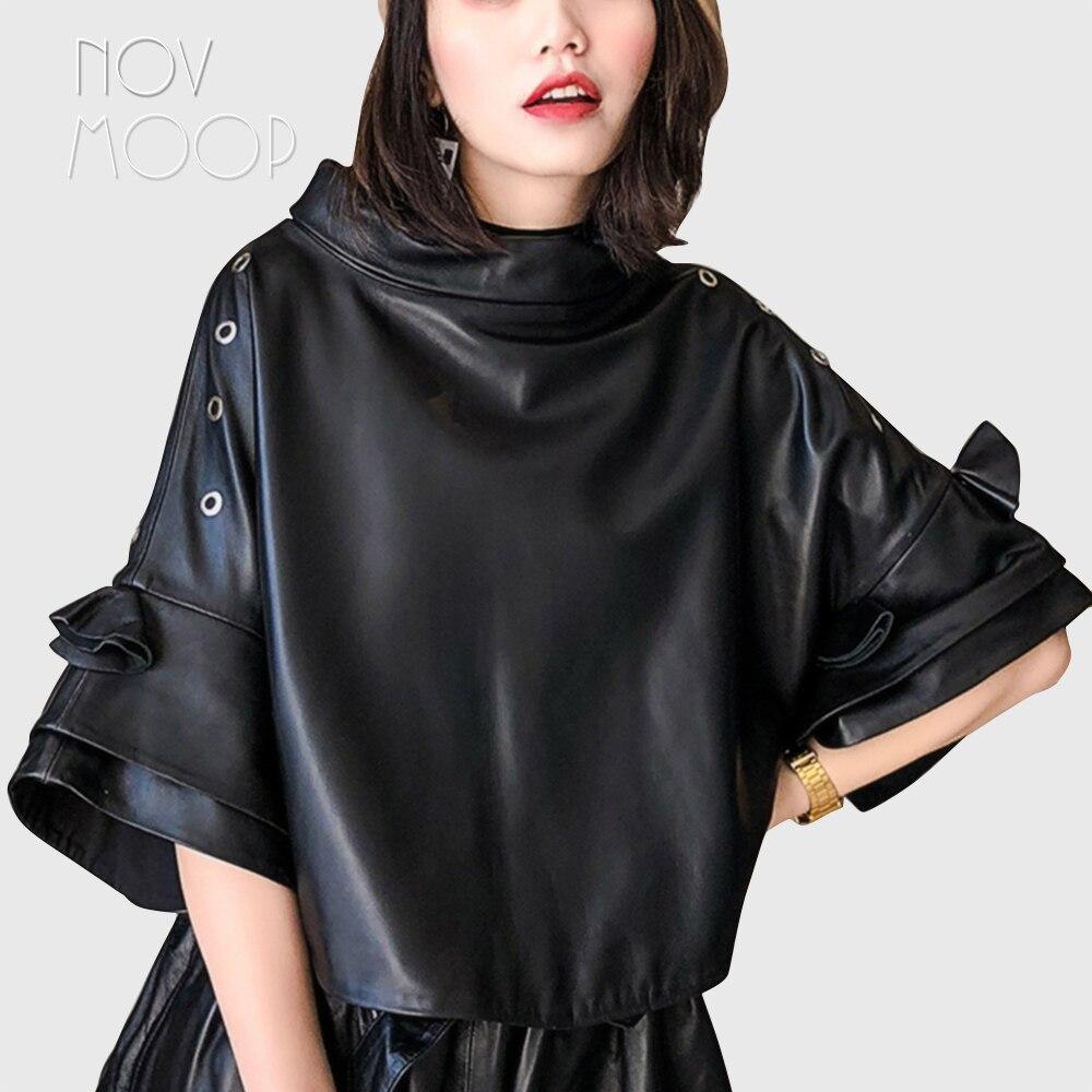 Korean style oversized pullover genuine leather real lambskin coat jackets cropped batwing sleeve casaco feminino ropa