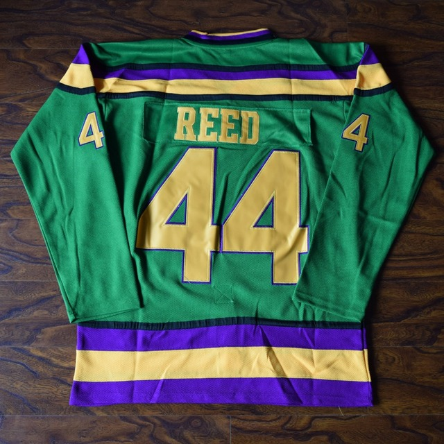 MM MASMIG Fulton Reed  44 Mighty Ducks Ice Hockey Jersey Stitched Green 3a7006f9050