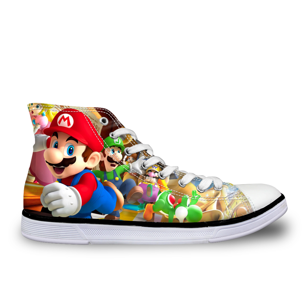2018 Woman Shoes Super Mario Women Walking Shoes for Girls Lady Cartoon Flat Sneakers 3D Printing High Top Flats Zapatos Mujer instantarts women flats emoji face smile pattern summer air mesh beach flat shoes for youth girls mujer casual light sneakers