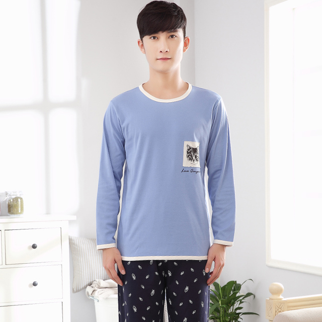 2017 New Mens Cotton Sleepwear Long Sleeves Casual Style Solid Blue Color Cat Patter Plus Size L XL XXL 3XL 4XL- 5083