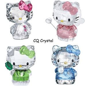 Image 4 - Figuritas de gatos de dibujos animados de cristal de alta calidad adorno de coche gato Aniaml pisapapeles regalo de boda Interior Multicolor, señora Favor regalo