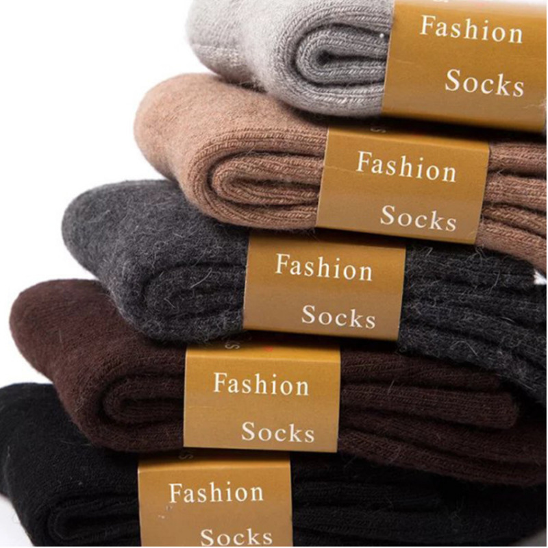 Fashion Solid Vintage Harajuku Thickening Man Business Wool Hair Circle Keep Warm Men Funny Socks Cotton Male Socks Dress Autumn