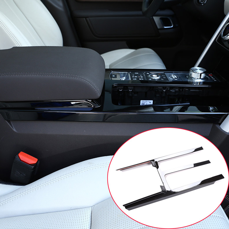 For Land Rover Discovery 5 LR5 2017 Car-styling ABS Chrome Gloss Black Center Console Protection Panel Cover Trim Car Accessory newest for land rover discovery 4 lr4 accessories abs dark wood grain center console ac vent cover trim stickers for lhd