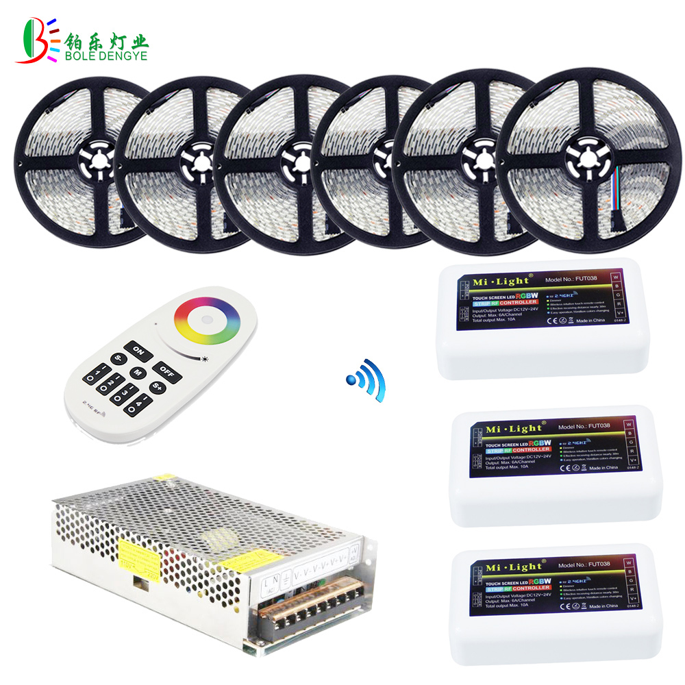 40M RGBW LED Strip 20M 10M Waterproof RGBWW Diode Tape+ Mi Light RGBW Controller RF 4 Zones Remote+ RGBW Amplifier +Power Supply