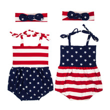 ФОТО newborn baby girls romper outfit infantil 4th of july baby stars stripes jumpsuit+ headband cute sister twins baby clothes set