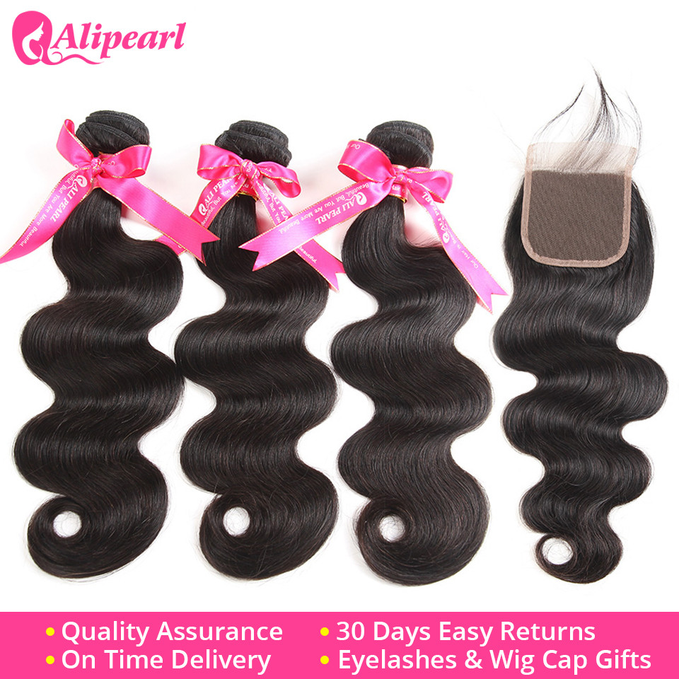Peruvian Virgin Human Hair 3 Bundles With Lace Closure Body Wave Bundles With Lace Closure 4*4 Free Middle Three Part Ali Pearl