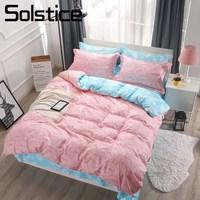 Solstice Home Textile King Queen Single Bedding Suit Lovely Pig Pink Duvet Cover Sheet Pillowcase Girl Kid Teenage Bed Linen Set