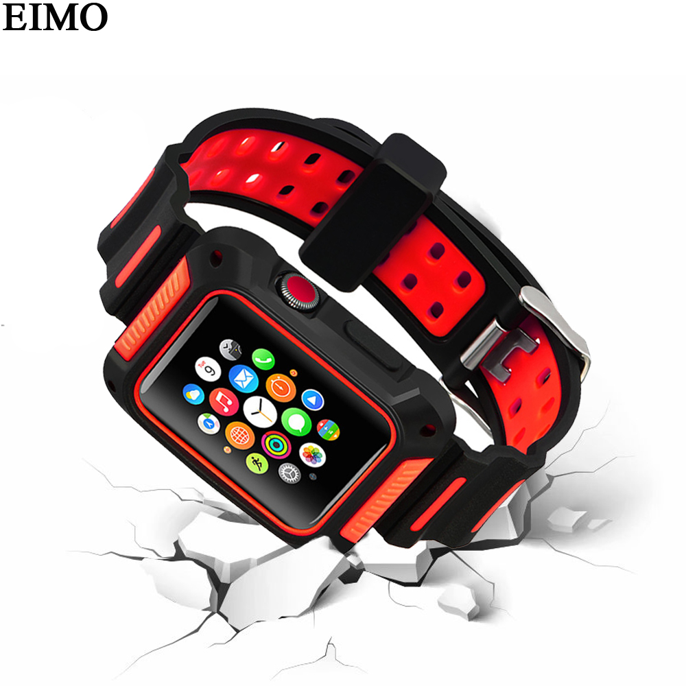 EIMO Silikon Strap für apple watch fall 42mm 38mm correa iwatch serie 3/2/1 Sport band handgelenk Armband schutzhülle abdeckung