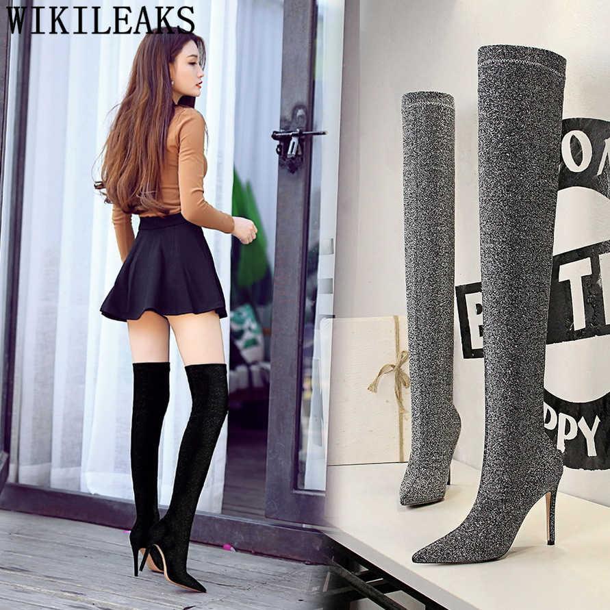 รองเท้าสีดำ glitter รองเท้าเข่าสูงรองเท้าส้นรองเท้าผู้หญิงส้นสูงรองเท้าส้นสูงรองเท้าส้นสูง bottes femmes zapatos de mujer ayakkabi