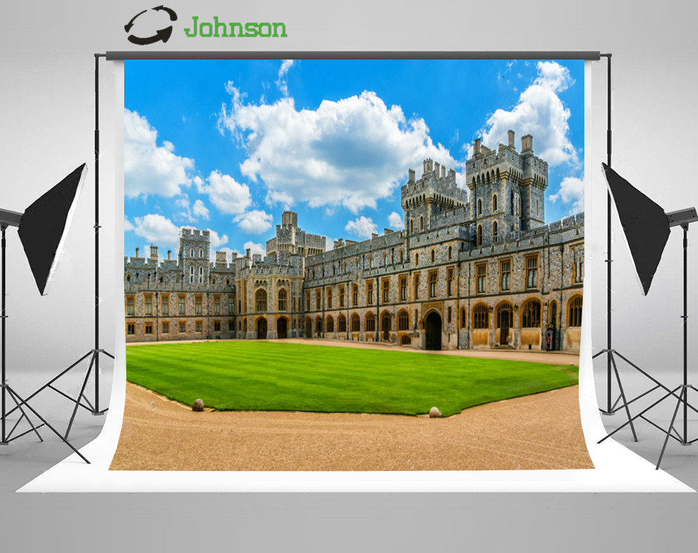 Blue Sky White Clouds Windsor Royal Castle London Meadow backdrop polyester or Vinyl cloth Computer print wall background