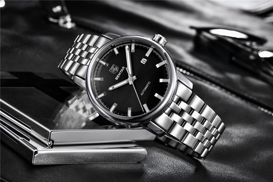 masculino relógios aço mecânico relogio masculino benyar