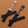 Высокое качество Нейлон Смотреть аксессуары ремешок для часов ручной работы Черный с белым черный линия прошитой Ремешок полированная пряжка развертывания