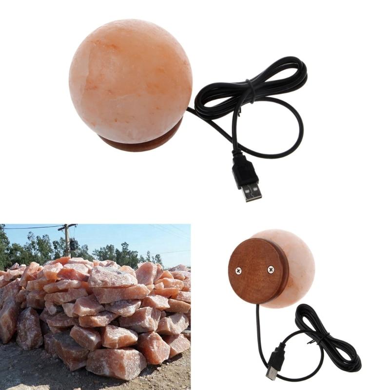 Round Hand Carved USB Wooden Base Himalayan Crystal Rock Salt Lamp Air Purifier Night Light