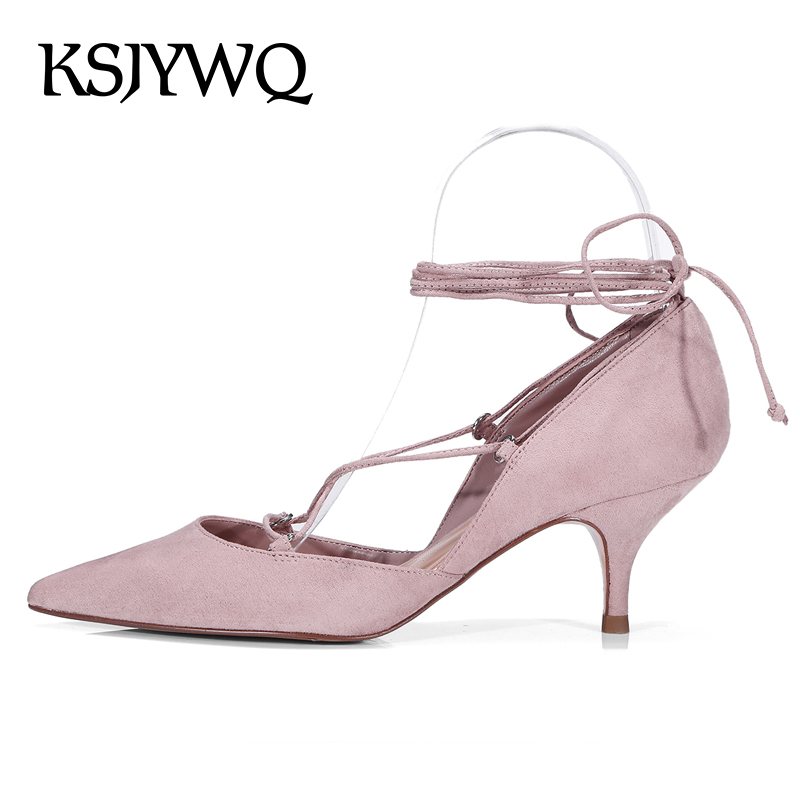 KSJYWQ 2018 Sexy Ladies Pink Pumps Lace-up Genuine Leather Dress Shoes Summer Style Sandals 6.5 CM High Heels Box Packing X660 ksjywq genuine leather flowers women sandals sexy exposed toe white shoes summer style clip toe shoes woman box packing a2571