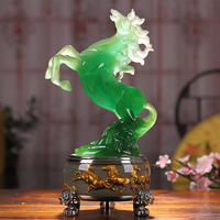 30cm LARGE # office home Business efficacious FENG SHUI Talisman Protection Money Drawing 3D crystal HORSE Sculpture ART statue