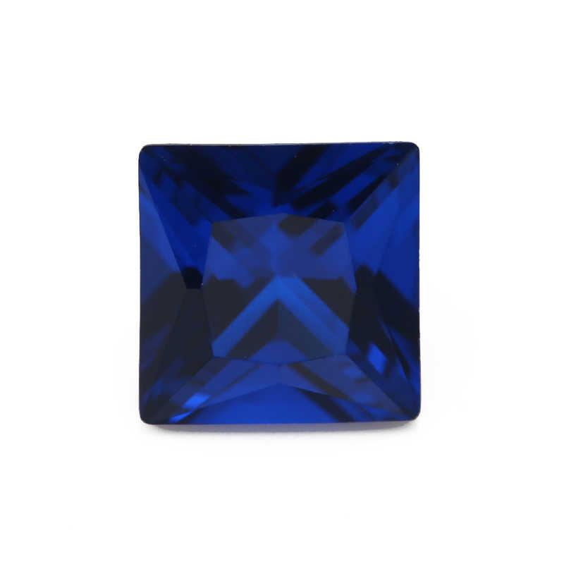 حجم 3x3mm ~ 10x10 مللي متر 112 # الأزرق مربع الشكل الأزرق حجر الأميرة قص الاصطناعية الإسبنيل