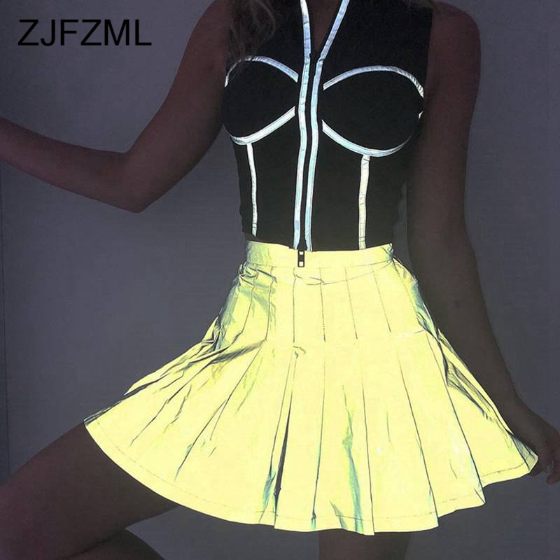 Reflective Pleated Skirt Women High Waist Sexy Mini Party Bandage Skirt Ladies Summer Causal Neon Green Short Skirts Streetwear