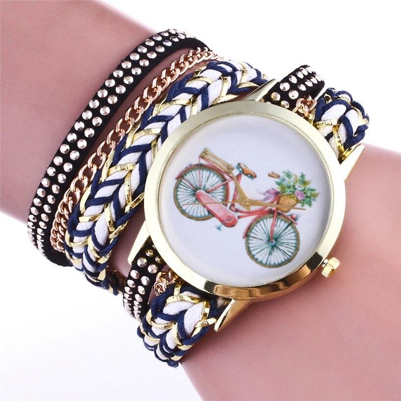 2017 NEW NEW Fashion Women Weave Wrap Around Leatheroid Quartz Wrist Watch Ladies Dress Quartz Watchs Drop Shipping #0310
