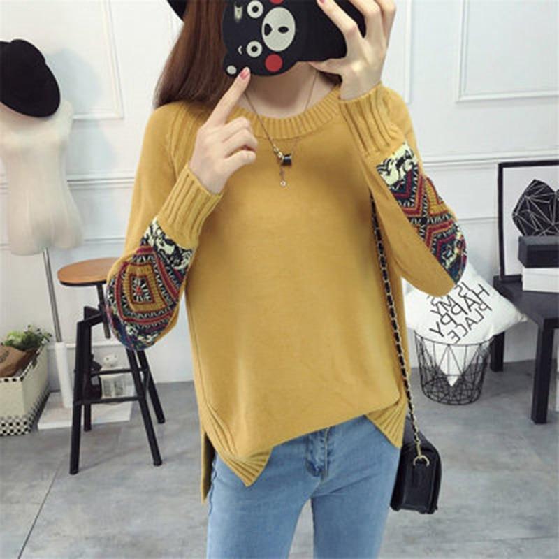 1 Pc Neue Stil Vintage Appliques Gestrickte Pullover Casual Frauen Pullover Und Pullover Herbst Winter Seite Split Pullover Pull Femme