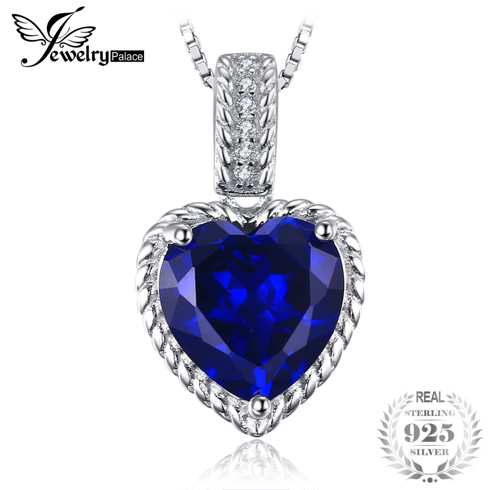 2.8ct Heart-Shape Created Sapphire Pendant 925 Sterling Silver Fine Jewelry Gift For Love Not Include the Chain