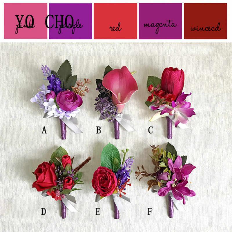 Йо Чо гибрид Калла Орхидея сестры Свадьба Жених необычные украшения Роза DIY ручной работы брошь на запястье корсаж цветок фиолетовый красный