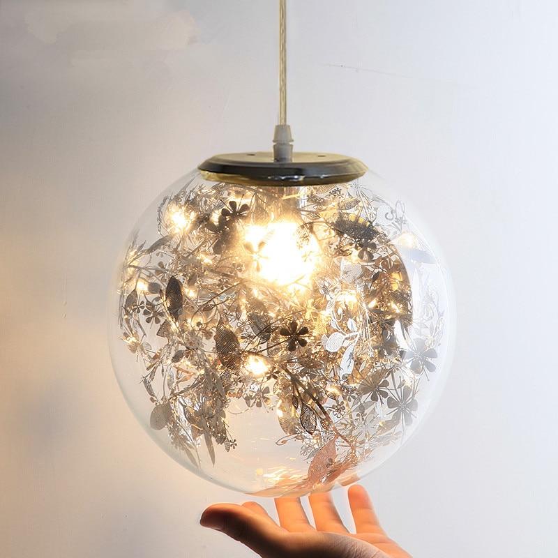 Nordic creative art Pendant Lights carved flower Glass Round LED light Fixtures For Living Room Kitchen Lustre Pendant Lamps
