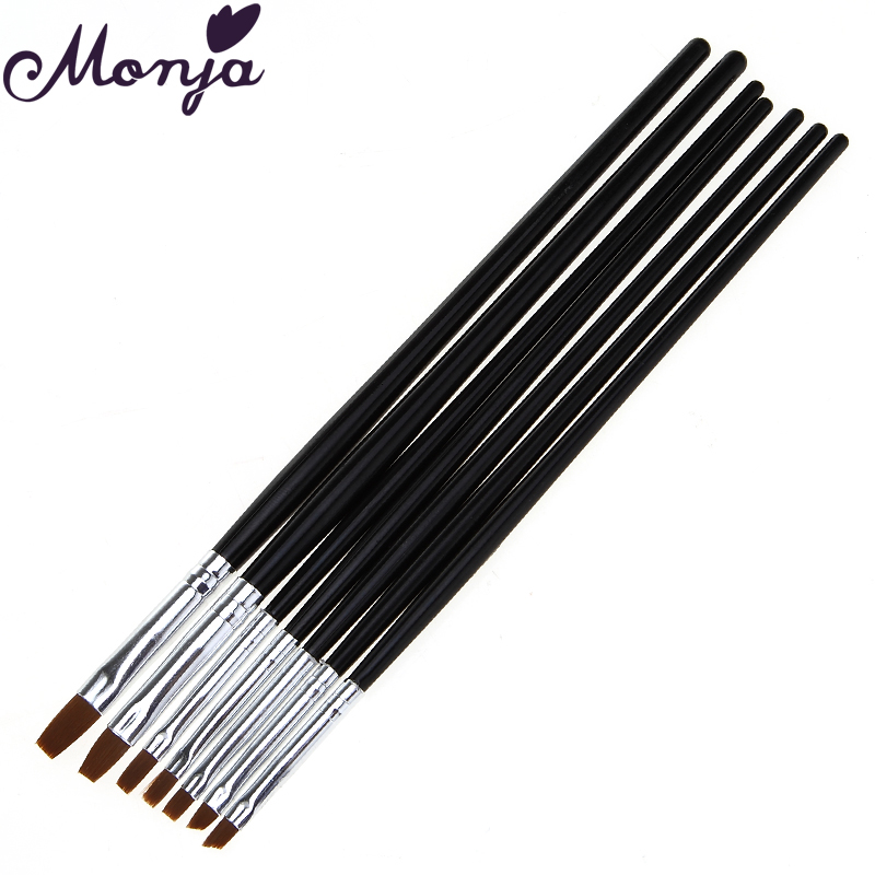 7Pcs/set Nail Art Pen Brushes Painting Drawing Dotting 3D DIY Builder Tips Design with Acrylic UV Gel Polish Flat Manicure Tool