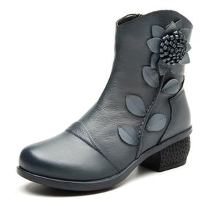 Image 3 - GKTINOO 2019 秋冬レトロブーツ手作りアンクルブーツ本物の革の靴 Botines Mujer 女性靴の女性のブーツ