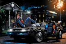Back To The Future Man Digital Image Lights Home Science Fiction Car Movie Art Silk Poster Print Home Wall Decor