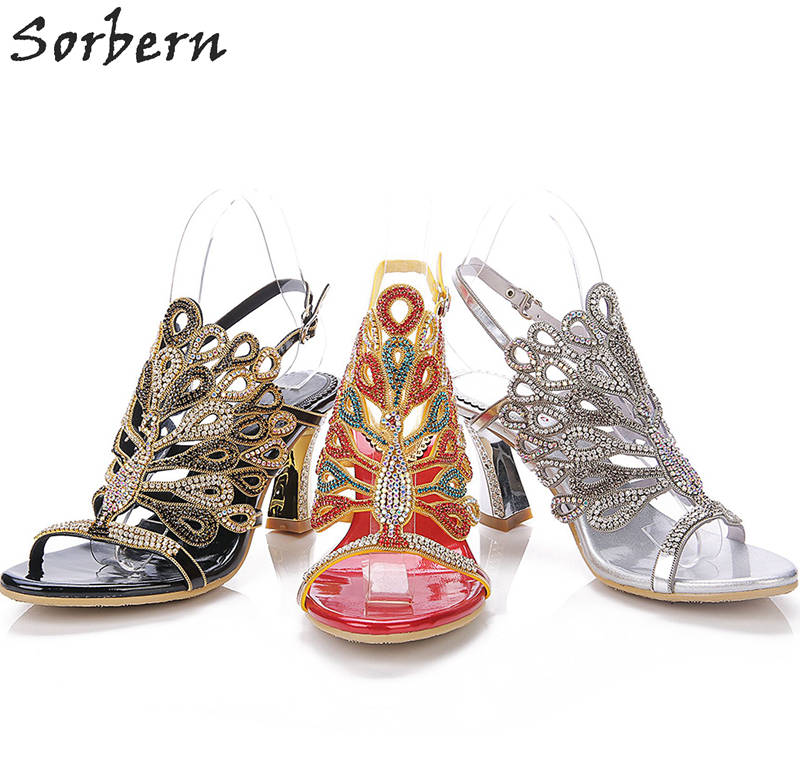 Sorbern 8CM Crystal Women Sandals Luxury Roman Diamond Sandals Ladies Party Shoes Bridal Wedding Shoes Sandalias Mujer
