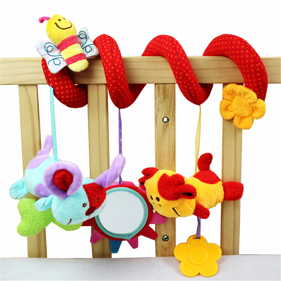 multifunctional soft baby rattles mobiles animal toddler bed wrapping car winding hanging safety mirror baby toys coral velvet