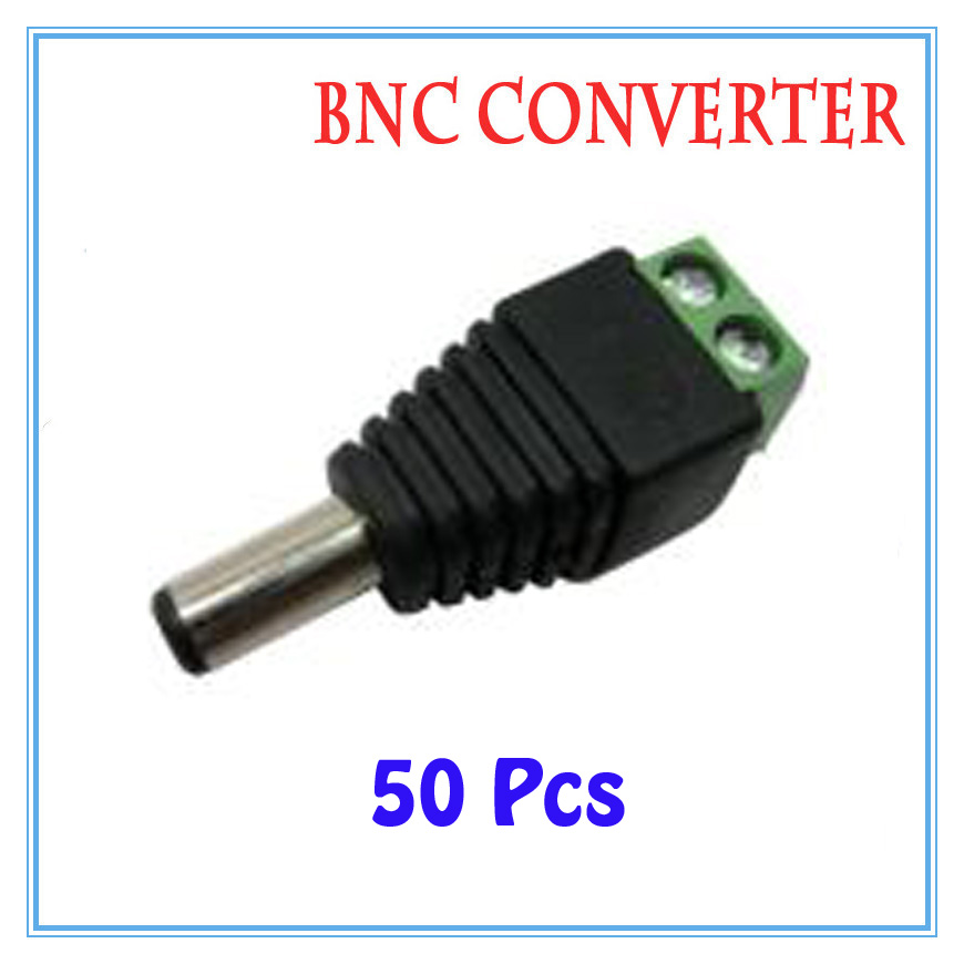 50pcs/lot DC Power Plug BNC Connector DC Male Adapter For CCTV IP Camera Power Supply Surveillance Accessories  50pcs 2 pole bnc dc male plug for color monitor video cctv power plug terminals