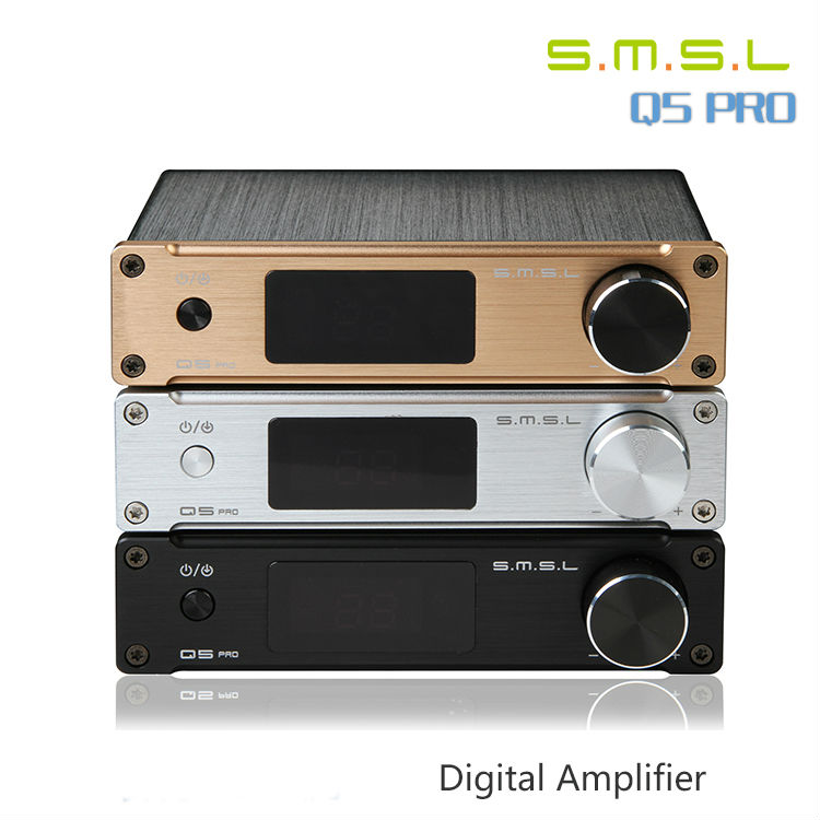 SMSL Q5 Pro Remote Control Mini HiFi 2.0 Pure Digital Home <font><b>Audio</b></font> <font><b>Amplifier</b></font> <font><b>Input</b></font> <font><b>Optical</b></font>/Coaxial/USB/ Power 50W*2 image