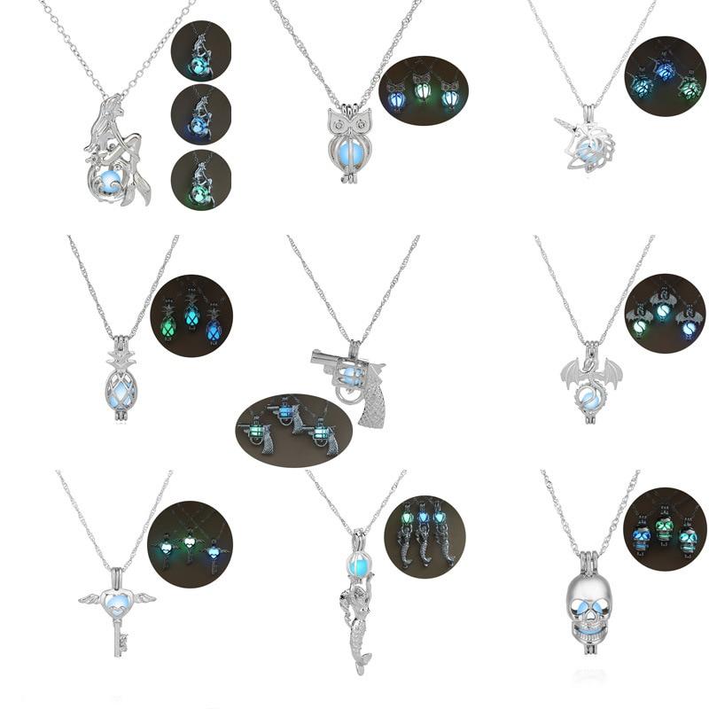 8 stile Glow in The Dark halsketten Für frauen Meerjungfrau Schlüssel eule gun Drachen ananas Luminous Perlen Käfig Anhänger Mode schmuck