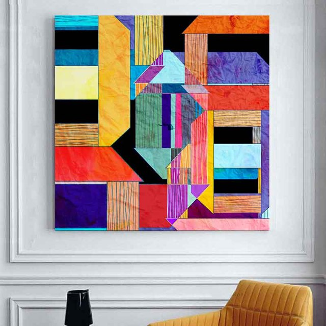 Decoracion livraison gratuite g om trique motif abstrait for Forme geometrique peinture mur