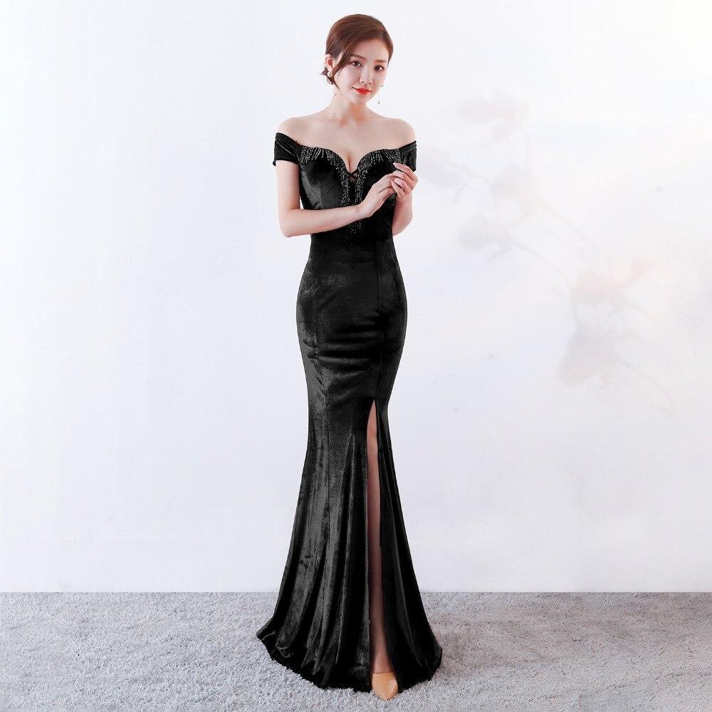 Women Elegant Sexy Appliques Velvet Wine Red Off Shoulder V-Neck Long Mermaid Slim Slit Club Party Dress Vestidos (16)
