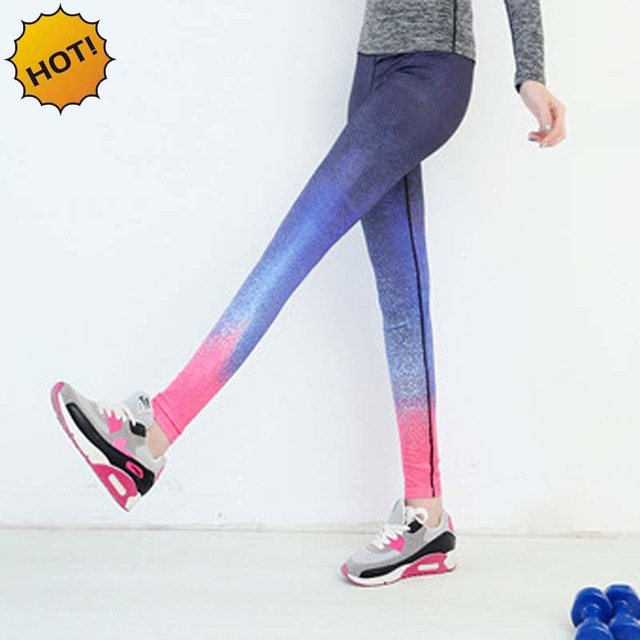 New 2017 Running outdoor Dance women quick-drying stretch tight Ankle-Length pants Gradient sky female fitness lady yoga pants