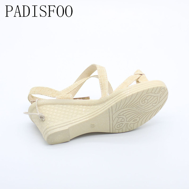 POADISFOO Women Sandals Summer New Vintage Style Gladiator Platform Wedges Shoes Woman Beach Flip Flops Bohemia Sandal .QCLR-PU2