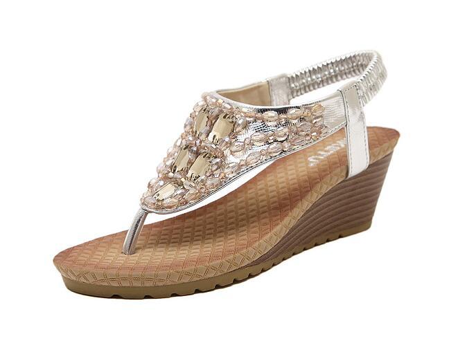 GUCHIYULAN Brand 2017 Bohemia Wedge Women Sandals Summer Vintage Rhinestone Woman Flip Flops Beach Women Shoes Gold silver
