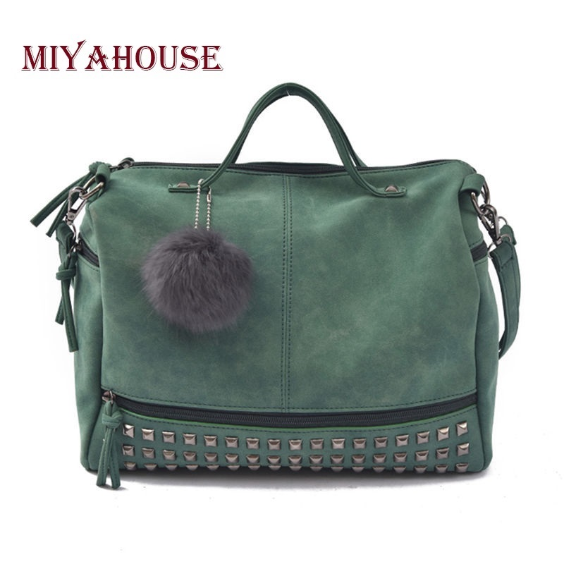 Miyahouse Vintage Ladies Boston Bags Handbag With Rivet Design Famous Brand Women Tote Shoulder Messenger Crossbody Bag Ladies women leather handbag famous brand design boston messenger bag fashion vintage ladies small shoulder bags bolsa 2017 new xa120h