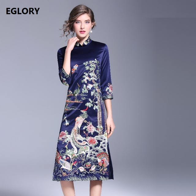 Navy Blue Pink Dress New Style Chinese Qipao Dress for Party Women Lurex  Phonix Embroidery Bodycon Sheath Dress Robe Femme XXXL fe88ead7d