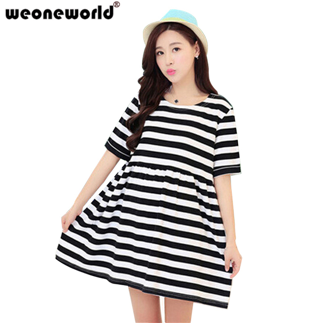WEONEWORLD Korean Fashion Maternity Dresses Cotton O-Neck Summer Casual  Striped Clothes For Pregnant Women 2e504a233eff