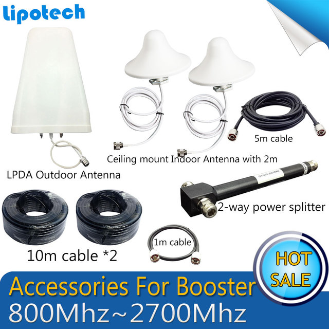 800-2700 MHz log-periódica Antena Exterior Antena interior Cables del Sistema Completo de Accesorios Para GSM UMTS 3G 4G Móvil repetidor de Señal