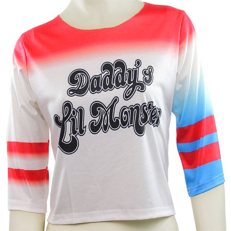 Batman Arkham Asylum City Suicide Squad Harley Quinn Costume T Shirt Daddy's Lil Monster T-Shirt Joker Cosplay Costumes On Sale