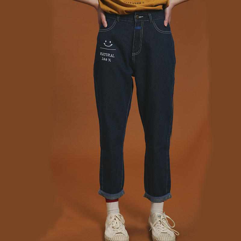 Straight Pants Jeans Letter Embroidery High Waist Buttons Dark Blue Jeans Fashion Spring Summer Cuffs Full Length Women Trousers flower embroidery jeans female blue casual pants capris 2017 spring summer pockets straight jeans women bottom a46
